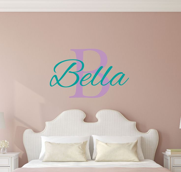 Custom Name Girls Boys Wall Decal Monogram   Personalized Name Wall Decal  Sticker Art   Name Vinyl Wall Decal   Name And Initial Decal   Nursery Room  Wall ...