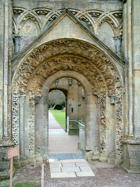 carved north door of Lady Chapel, Glastonbury: Place