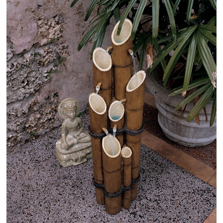bamboo.. maybe not as a fountain,  but as single flower holders