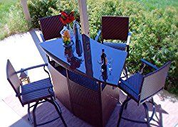 5pc Outdoor Wicker Patio Bar Dining Set – Swivel Bar Stools with Offset Umbrella