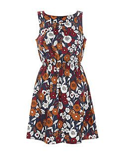 Blue Floral Print Shirred Waist Sleeveless Dress  | New Look