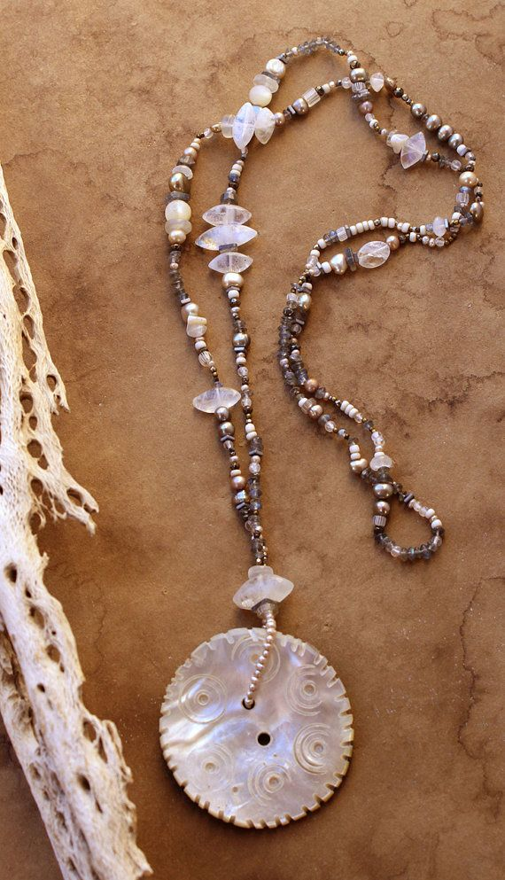 Desert Talismans - Winter Moon :: This beautiful vintage mother-of-pearl button comes from the village of Gilgit in the remote Swat Valley of Northern Pakistan