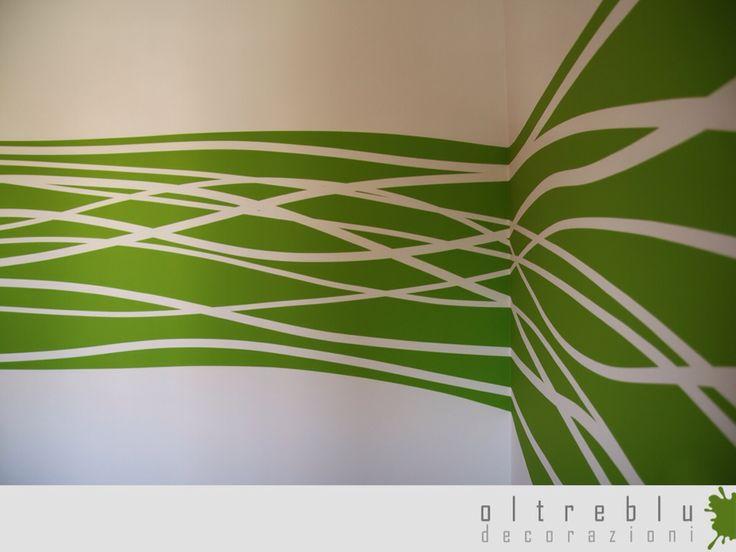 Decorazione, murale, interno, camera, cameretta, pattern, tinta, acrilico, strisce, nastri, verde, impatto