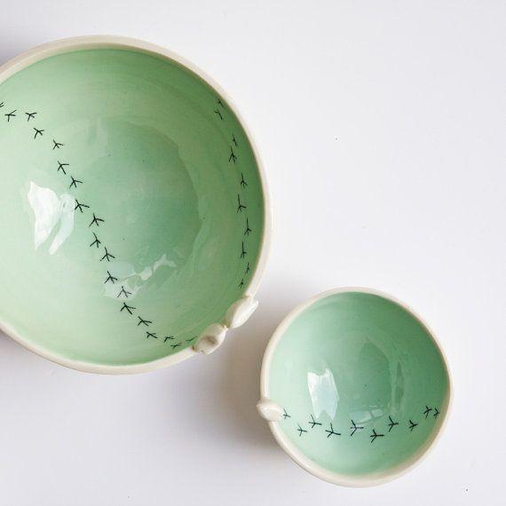TWEET BOWL ceramic bird bowl. white and green pottery by karoArt
