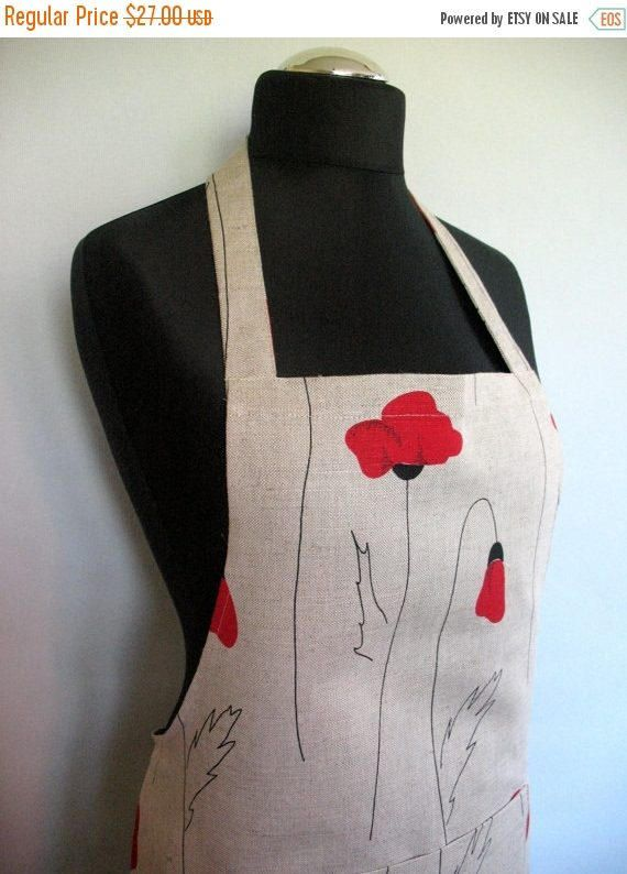 Linen Kitchen Utility Apron Womens Aprons for women by Initasworks