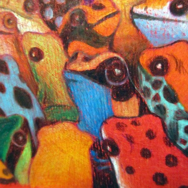 """Detail of colorful frogs illustration, from my """"Ciacio in Amazonia"""" children's picture book! Work in progress with acrylic painting and pencils."""