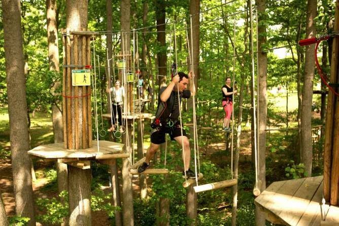 11.	Challenge yourself in a treetop obstacle course in Swope Park.