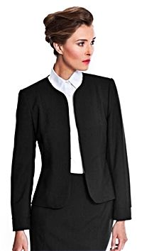 Black wedding suit with jacket.  http://www.formalworkattire.com/non-traditional-womens-wedding-suits-with-jackets/
