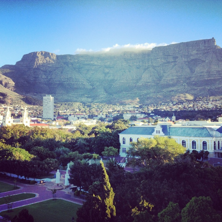 Cape Town, view of Table Mountain over Company Gardens.