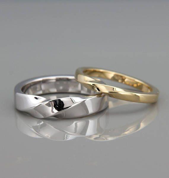 14k White & Yellow Gold Mubius Rings Set ring set   His and