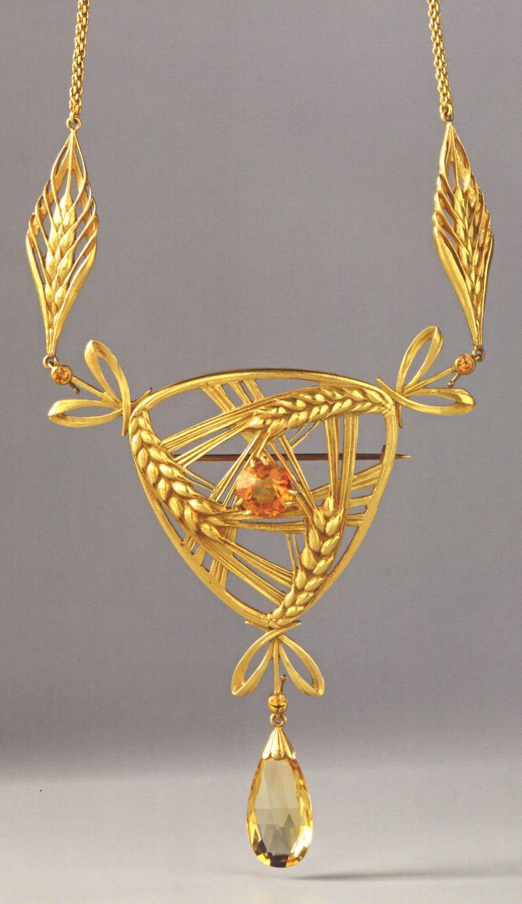 An Art Nouveau gold and citrine pendant / brooch, by Lucien Gaillard, Paris, circa 1903. 9.0 x 7.0cm. Source: Wolfgang Glüber, Jugendstilschmuck