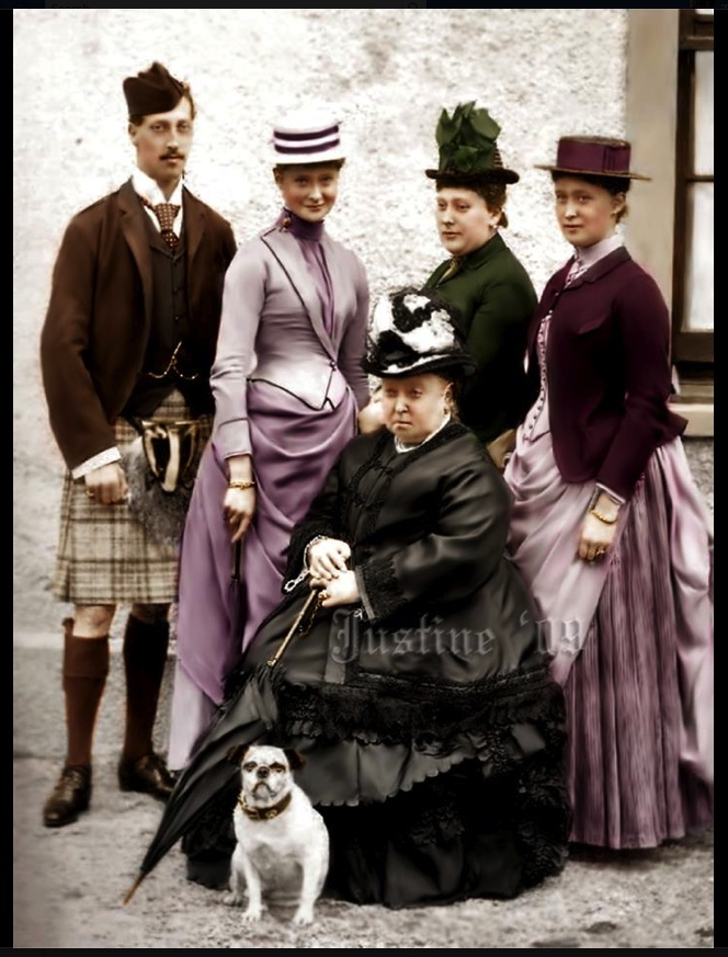 Queen Victoria with Prince Eddie-Duke of Clarence,  Princess Alix of Hesse (later Tsarina Alexandrovna, wife of Czar Nicholas II),  Princess Beatrice–Queen Victoria's youngest daughter,  German  granddaughter of Queen Victoria