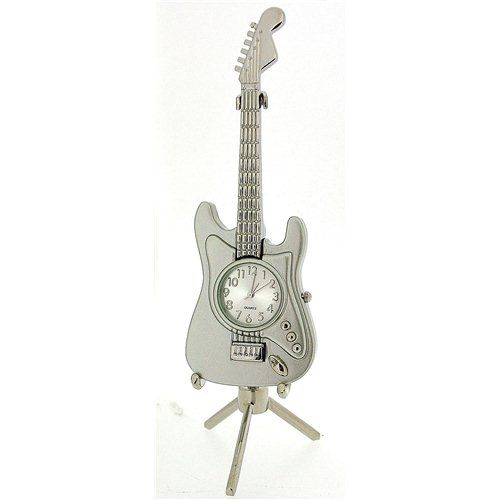 Miniature Guitar Novelty Silver Ornamental Collectors Clock on Stand 0353