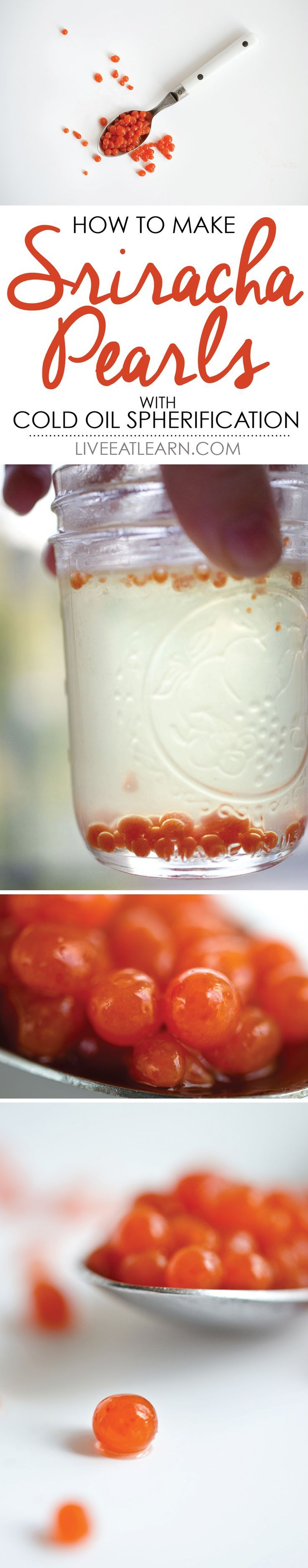 "Make these easy Sriracha ""Caviar"" using the molecular gastronomy trick, cold oil spherification! // Live Eat Learn"