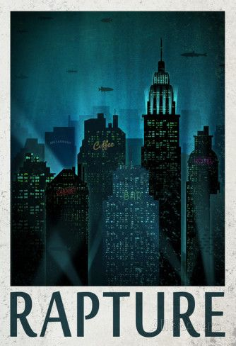 Rapture Retro Travel Poster Affiche