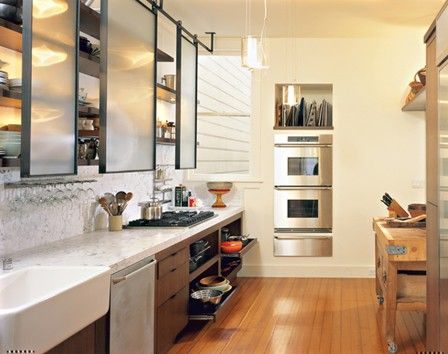Sliding doors in front of shelving instead of cabinets. Beautiful #simple lines