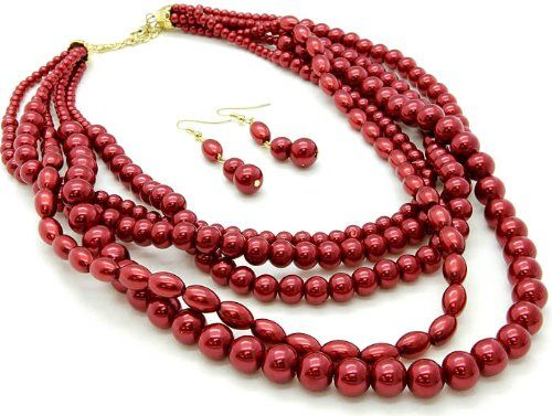 Gorgeous Red Glass Bead Pearl Multi Layered Necklace Earring Set http://www.mysharedpage.com/gorgeous-red-glass-bead-pearl-multi-layered-necklace-earring-set