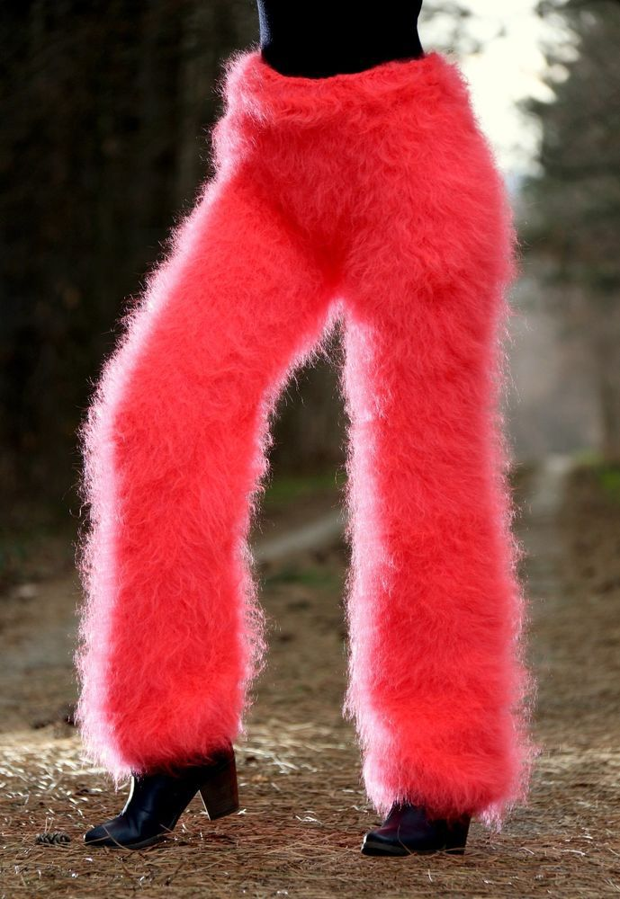 SUPERTANYA NEON RED CORAL hand knitted mohair pants fuzzy trousers leg warmers #SuperTanya #Casual