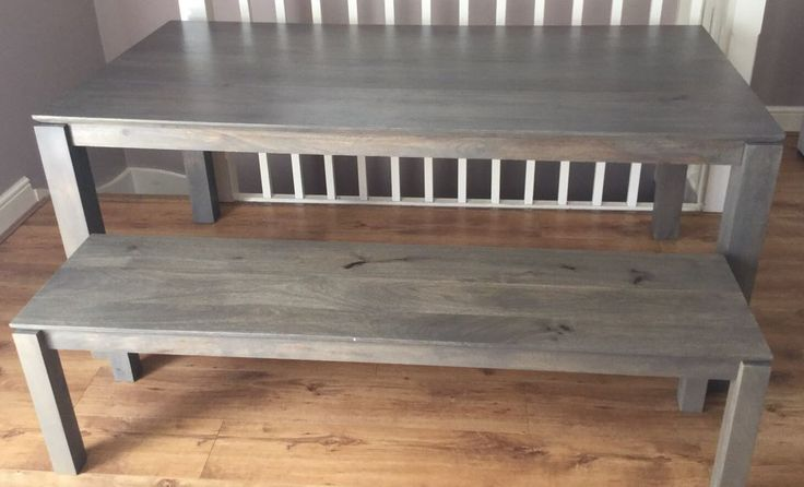 This lovely grey stained Asian themed mango wood 6-8 seater dining table & bench from the current John Lewis Asha range, bench states seats 3 but I would say 4 especially if for younger kids. There is also a wide range of other furniture to match this. | eBay!
