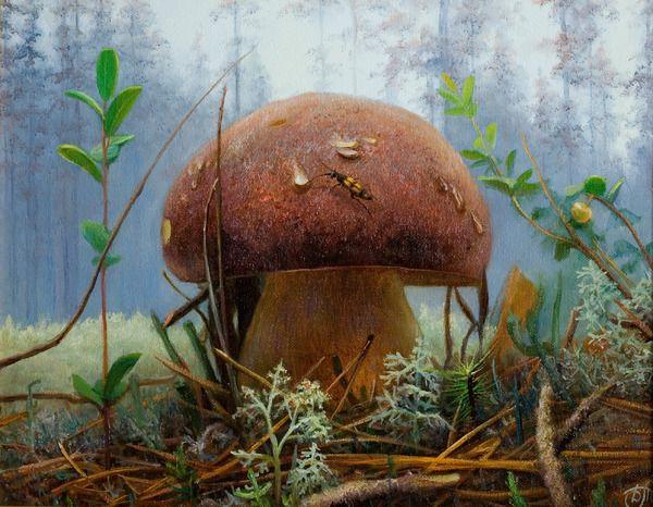 Белый гриб, художник Дмитрий Тихов