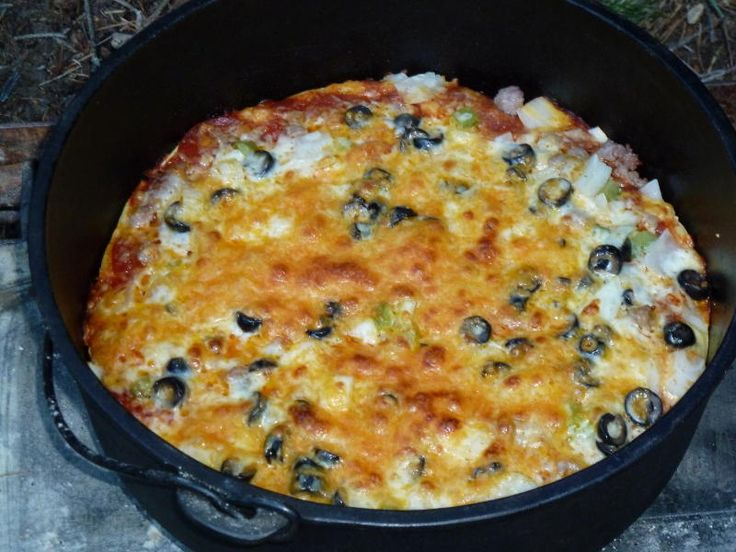 Dutch Oven Pizza-super easy camping meal