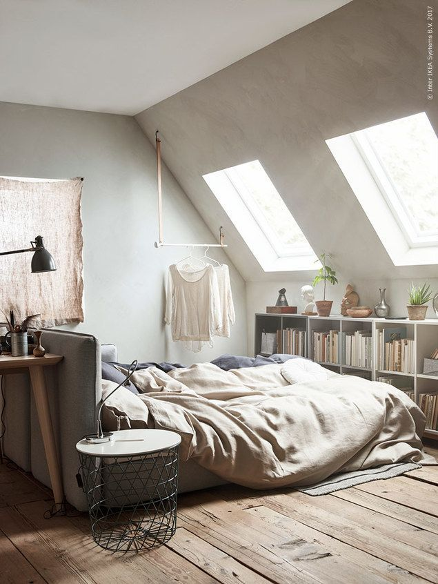 � beautiful attic room filled with natural light. Feature by Maxine Brady at WeLoveHomeBlog, Styling Anna Cardell, Photos Andrea Papini forIkea Livet Hemma #interiordesign #attic #bedroom