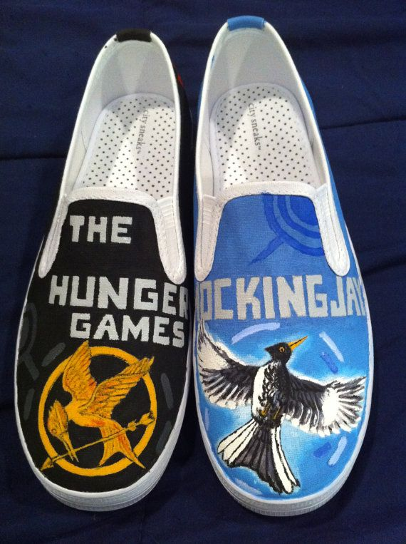 The Hunger Games - Painted Shoes.  Fun for the graduate at a graduation party!