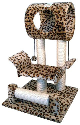 """Color: Leopard. Size: 18""""W x 17.5""""L x 28""""H. Size of round house: 10"""" Diameter x 12"""" Length. 2 Hanging balls included. (Front) Bottom post can turn. Posts covered by natural sisal rope. Board covering material: Faux Fur. Board material: Wood. Easy to assemble with step by step instruction and tools included."""