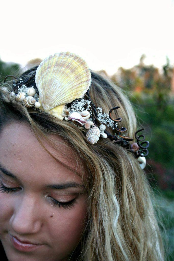 BEACH TIARA. mermaids delight shell crown natural hues. $45.00, via Etsy.