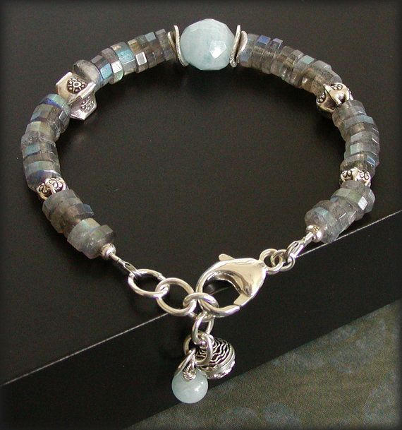 Labradorite Bracelet with Aquamarine Sterling by jQjewelrydesigns