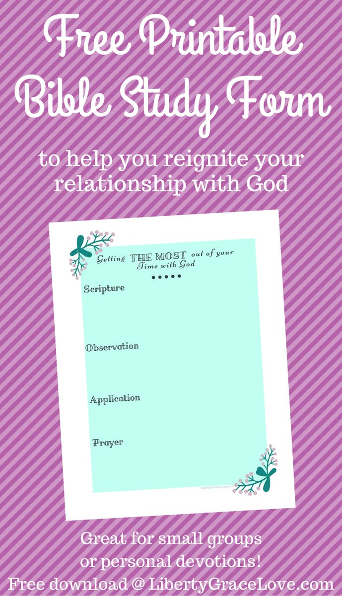 Free Printable Bible Study Form Worksheet- Great for small groups, Sunday Schools, Women's Groups, MOPS, Young Mothers Church Groups, or personal devotions. How to Get the Most Out of Your Bible Study Time- using the SOAP Method, Scripture, Observation, Application, and Prayer. This Bible Study Worksheet could be given as homework at a retreat and is beautiful and easy to print! Printable on any home computer.