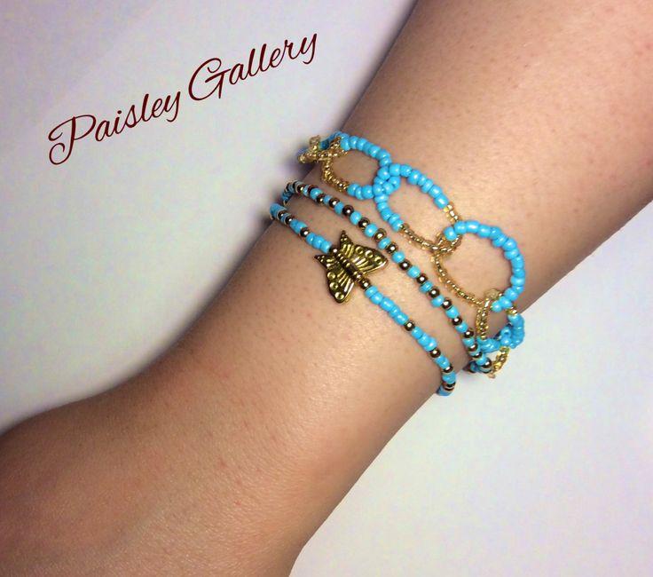 Triple Beaded Bracelets by PaisleyGI on Etsy