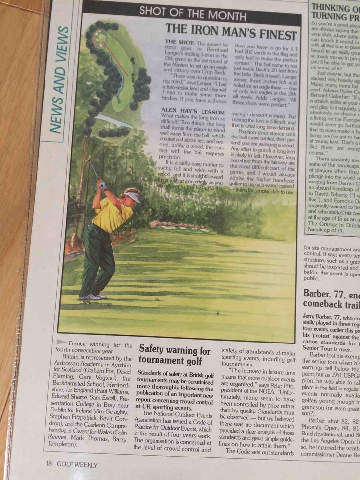 Watercolour illustration of Bernhard Langer for Golf Weekly magazine by Sandra Russell