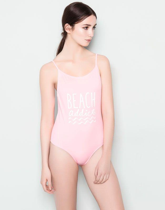 Pull&Bear - mujer - beachwear - bañador print - rosa past - 05802351-V2014