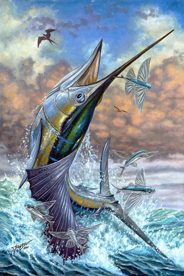 Jumping Sailfish And Flying Fishes Painting by Terry Fox