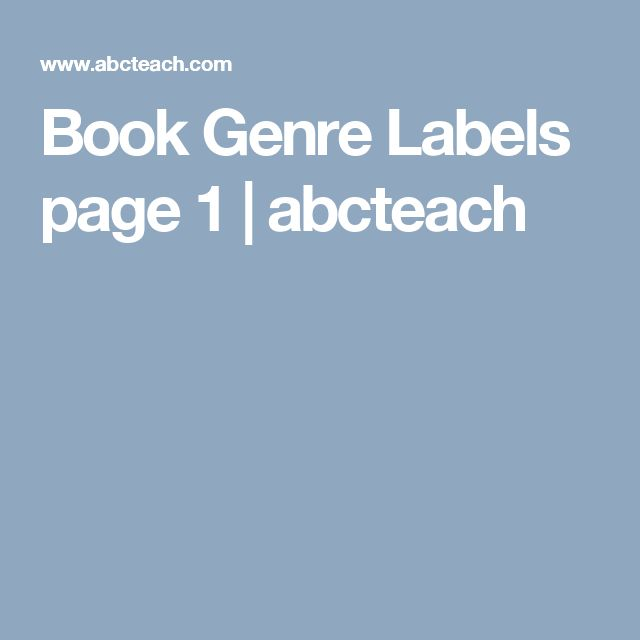 Book Genre Labels  page 1 | abcteach