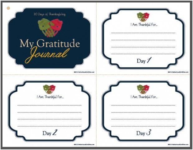FREE printable Gratitude Journal pages! Bind with a ribbon or twine
