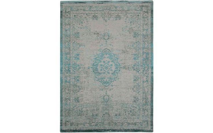 Prachtig grijs met blauwgroene vintage vloerkleed