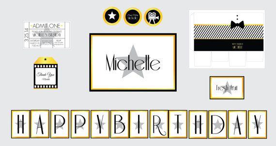 Movie Theme Birthday Party- Hollywood Glamour Birthday Party-Hollywood Movie Star Theme-Movie Night- Movie Ticket Invitation