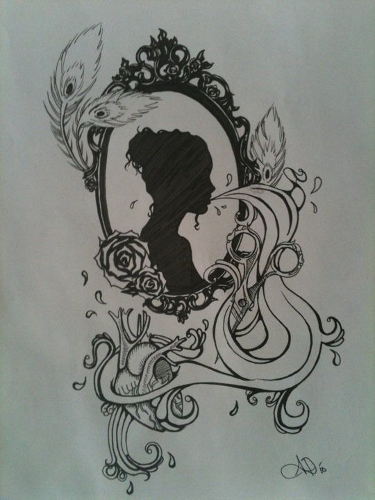 Cameo tattoo graphics rabiscos pinterest belle for Mirror meaning
