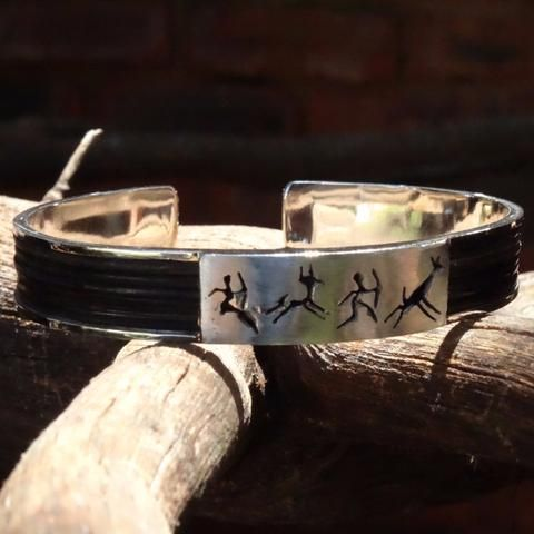 Rectangular Bushman Elephant hair bangle - Handcrafted in Sterling Silver or Gold. GoodiesHub.com