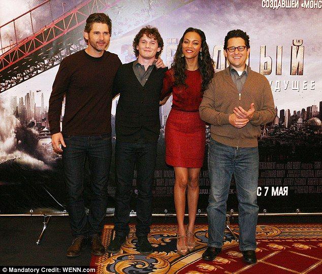 Good company: Eric Bana, Yelchin, Saldana and Star Trek director J.J. Abrams at the Moscow premiere of Star Trek in April 2009