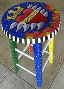 Hand painted stool by Carla Bank #handpaintedfurniture