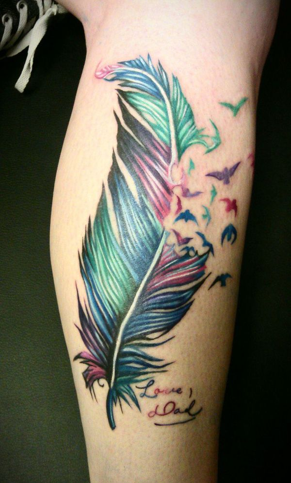 This is a very pretty tattoo placed on a lady's calf and i like it very much but if i was to get it i would get it smaller and just under my collar bone so when the bird fly off they go over my shoulder.