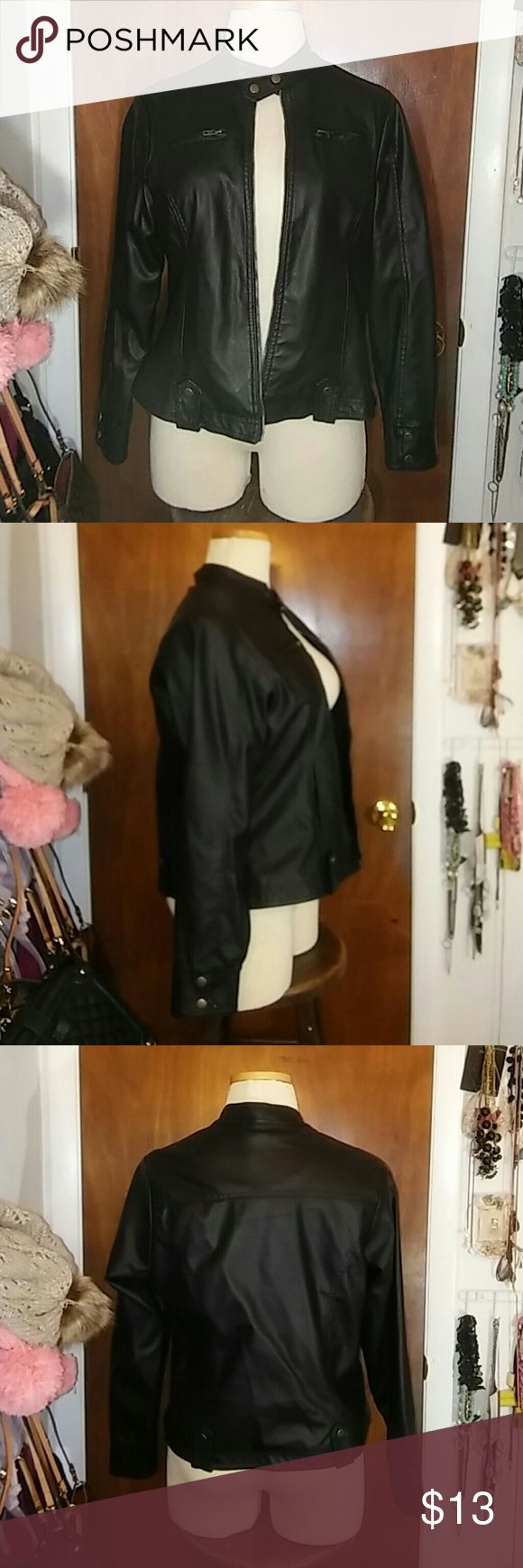 Black faux leather jacket Black jacket size 1X. Worn a couple times only. New Look Jackets & Coats