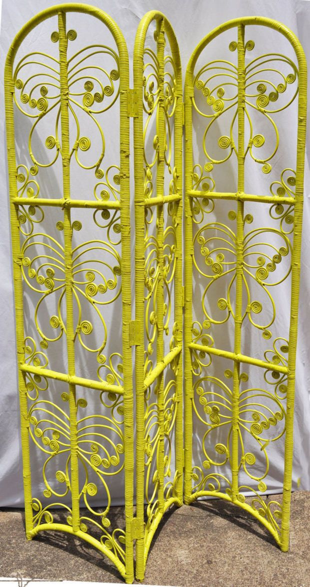 Vintage Wicker Scroll Room Divider Screen Upcycled