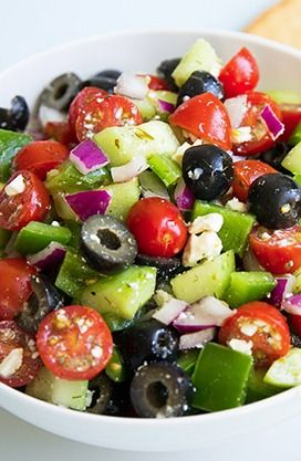 Greek Salad | tomato, cucumber, onion, capsicum, olives and feta. Sprinkle with oregano and salt. Drizzle oil and vinegar.