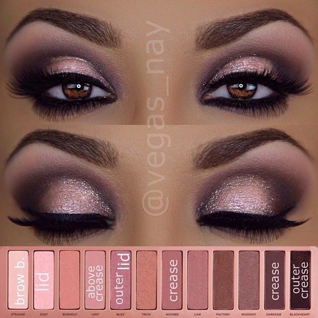 Naked Palette 3 - 1.) prime eyes and sweep Nooner through crease 2.) darken crease with Darkside and apply Blackheart to outer crease 3.) blend out above crease with Limit 4.) mix Nooner and Blackheart and blend any harsh lines through crease 5.) apply Dust (wet) on lid and pat Buzz over lid lightly