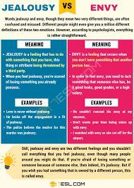 envy vs jealousy - Google Search   English vocabulary. Learn english. English language learning