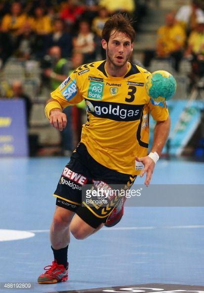 Uwe Gensheimer of Rhein-Neckar Loewen tries to score during the DKB Handball Bundesliga match between Rhein-Neckar Loewen and HSV Hamburg at SAP Arena on May 4, 2014 in Mannheim, Germany.
